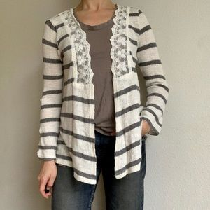 Skies are blue striped lace open front cardigan
